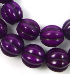10mm Purple / Violet Turquoise Fluted Melon Round Beads (20)