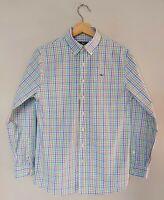 Vineyard Vines Whale Shirt Boys L 16 Blue White Pink Green Plaid Button Down