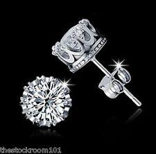 925 Sterling Silver CZ 8MM Crown Stud Earrings Round Crystal Cubic Zirconia