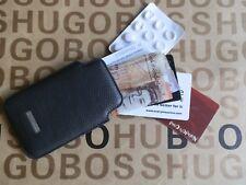 Nueva etiqueta de cuero negro gris HUGO BOSS Notas Monedas Cartera de manga de tarjeta de crédito