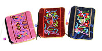 Satin Zip Embroidery Makeup Pouches 6in Qty3 Floral Black Pink Red C42-50