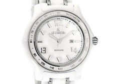 Le Chateau Men's White Ceramic Silver Tone Watch