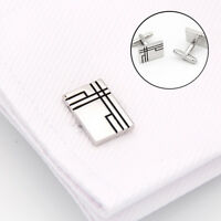 FP- KF_ Men Rectangle Cufflinks Suit Shirt Cuff Jewelry Wedding Fashion Decor Sp