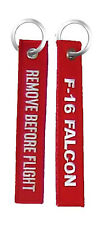 F-16 Falcon / Remove Before Flight - USAF Embroidered Key Chain Fob