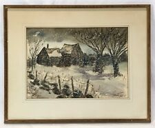 Vintage Mid Century Modern Winter Snow Landscape Watercolor Painting Signed