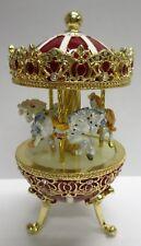wunderschöne Spieluhr als Pferde-Karussell im Stil eines Faberge Ei NEU