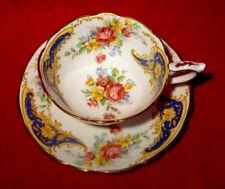 ROYAL STAFFORD *GLORIA* CUP & SAUCER BLUE FLORAL PINK ROSE GOLD TRIM ENGLAND