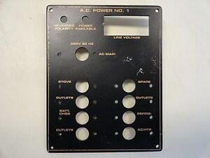 "A/C  POWER NO 1 BLANK PANEL 5 1/2"" X 6 7/8"" BLACK / GOLD MARINE BOAT"
