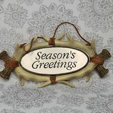 Vintage Holiday Sign SEASONS GREETINGS Faux Antlers Christmas Decor Holiday 6x12