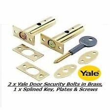 2 x YALE DOOR SECURITY BOLTS, RACK BOLTS BRASS FINISH WITH 1 x SPLINED KEY - NEW