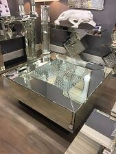 Large Square Illusion Mirrored Coffee Table Silver Floating Glass Crystal