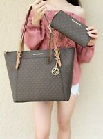 Michael Kors Ciara East West Top Zip Tote Brown MK Signature Continental Wallet