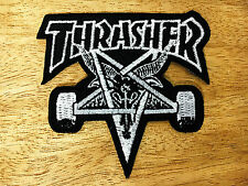 THRASHER EMBROIDERED Black&White Patch Iron On Or Sew Skateboard Cool Sports