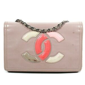 Chanel - Wallet on a Chain Crossbody CC Pink Lipstick Mauve Patent Leather Bag