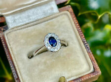 18ct White Gold & Platinum Art Deco Sapphire and Diamond Cluster Ring SIZE K