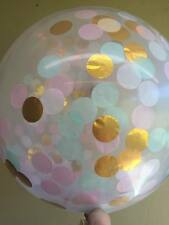 GIANT 90CM 3FT CONFETTI BALLOON CLEAR Metallic Gold, Pink And Mint Green