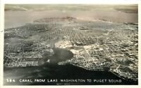 Canal Lake Washington 1930s Seattle Washington Puget Sound RPPC postcard 9053