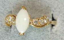 Ladies' 18KT Gold Overlay Marquis Opal & Austrian Crystal Rings in Sizes 6 -10 ?