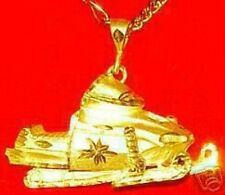 LOOK Gold Plated Snowmobile Sports Pendant Charm Snow