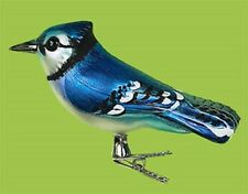 Blue Jay Bird Clip Christmas Tree Glass Ornament Decor