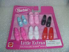 "6 Pair  Barbie Shoes - Mattel "" Little Extras "" Poseable Flat Foot Dolls  NIP"