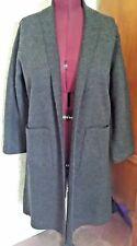 NWT-MINT! EILEEN FISHER Wool Knit Open Front Long Kimono Coat-1X-Charcoal