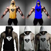 Men's Gym Bodybuilding Stringer Hoodie Tank Top Muscle hooded Shirt Superman