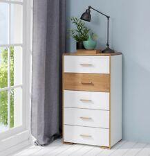 tall boy chest of drawers modern white gloss oak wood top tallboy unit bari