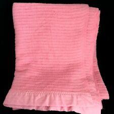 """Vintage Pink Waffle Weave Acrylic Blanket Nylon Trim Binding  Twin 72"""" x 90"""""""