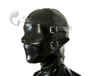BLACK LATEX HOOD CONDOM SHEATH MASK BONDAGE FETISH KINK HANDMADE ZIPPER S L