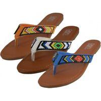 Summer Comfort Casual Thong Women's Beaded Flip Flops Sandals Flat Slipper shoes
