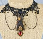 H37c Taxidermy REAL Hanging Bat Necklace Choker Jewelry Oddity curiosities nice