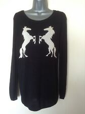 SOAKED IN LUXURY LONG BLACK/ WHITE HORSE JUMPER - SIZE XS ( UK 8/10 ) - GORGEOUS