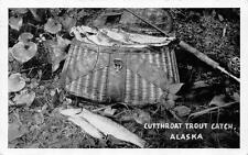 CUTTHROAT TROUT CATCH Alaska Fishing Rod & Creel Vintage Postcard ca 1940s