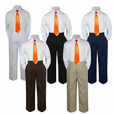 New 3pc Orange Tie Shirt Suit for Baby Boy Toddler Kid Pants Color by Selection