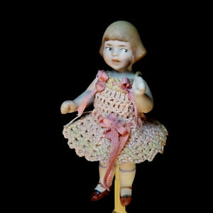 Antique dollhouse doll all bisque character type high quality c 1920 googly eyes