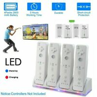 For Wii Remote Controller 4 PCS Rechargeable Batteries & Charger Dock Station 1x