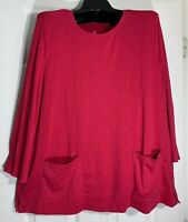 New J Jill women size XL Relaxed two pocket Tee / Top 100% Pima cotton New