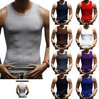Men's  100% Cotton A-Shirt  Muscle Ribbed Tank Top Sleeveless T-Shirt Gym S-5X