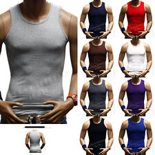 Men Cotton A-Shirt  Muscle Ribbed Wife Beater Tank Top Sleeveless T Bodybuilding