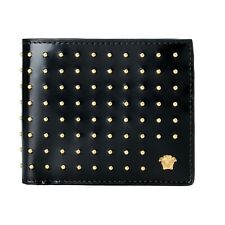 Versace Men's 100% Leather Black Studded Wallet