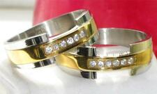 Cubic Zirconia Stainless Steel Band Rings for Men