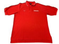 Nebraska Cornhuskers Nike Team Mens Polo Shirt Red Textured Short Sleeve M