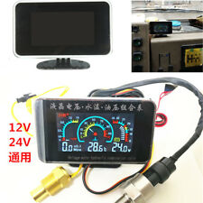3 IN 1 LCD Truck Car Oil Pressure Voltage Water Temperature Gauge With Sensors