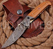 UD KNIVES HANDMADE DAMASCUS STEEL LINER LOCK POCKET FOLDING KNIFE B10-11761