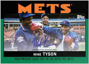 MIKE TYSON SIGNED DARRYL STRAWBERRY & DOC GOODEN MEET AT SHEA 1986 TOPPS X CARD