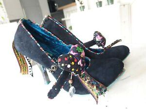Irregular choice 6 Black Heart T Bar Strap Heels *read*
