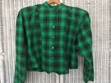 Vintage 80s 90s Rose Crop Top Shirt Cotton Green Black Plaid Shoulder Pad Medium