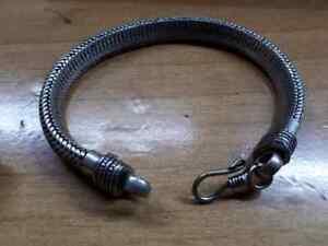 bracciale  bagno argento indiano snake piatto bracelet 23 CM indian silver