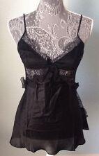 NWT VICTORIA'S SECRET Designer Collection Ruffle 100% Silk Babydoll Black S